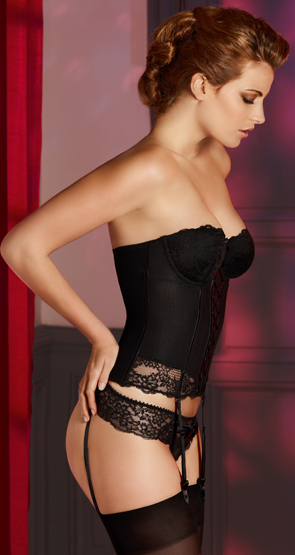 Wife in black lingerie