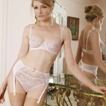 Fleur of England 2013 Rose Lace cup balcony bra, suspender and silk thong