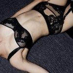 Belle de Nuit Guipure Balcony Bra, Suspender Belt and Thong - Fleur of England