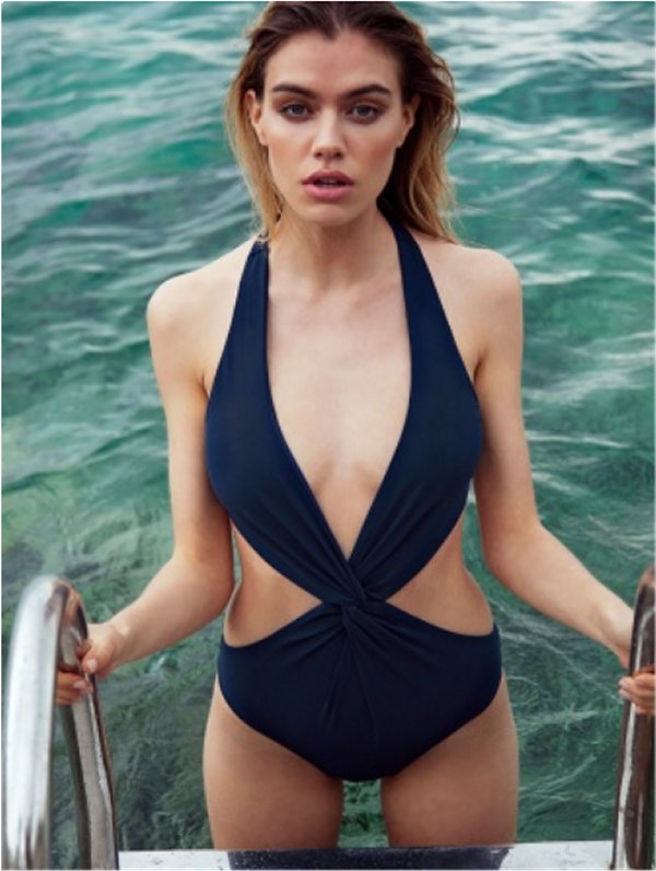 Ink Blue Cut-Out Swimsuit front
