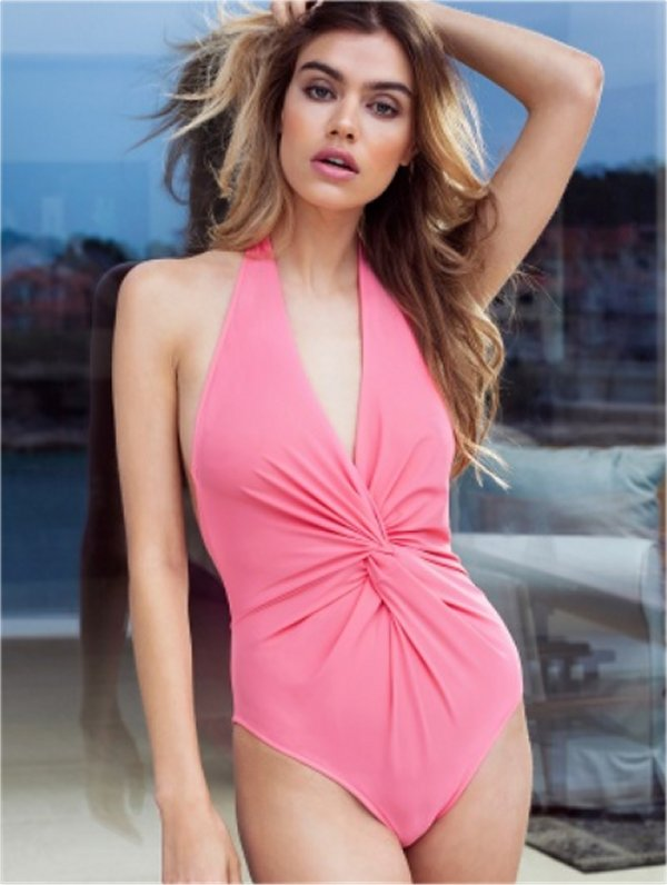 Sunset Pink Knotted Swimsuit